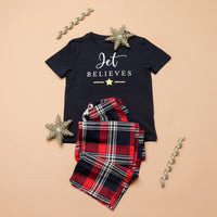 Personalised Believes Red Checked Christmas Pyjamas
