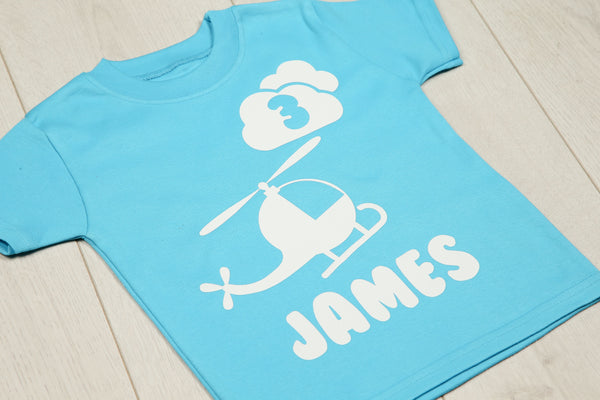 Personalised Helicopter Birthday T-shirt - Mini Kings & Queens