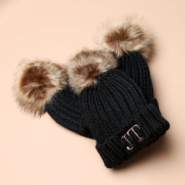 Personalised Black Faux Fur Initial Pom Hat