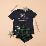 Personalised Believes Green Checked Christmas Pyjamas