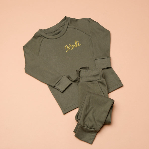 Personalised Embroidered Khaki Loungewear