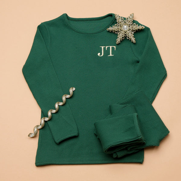 Personalised Forest Green Christmas Ribbed Loungewear