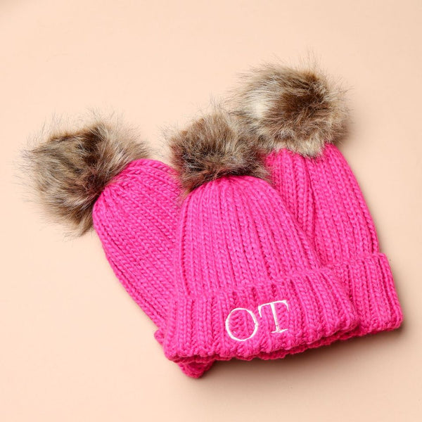 Personalised Pink Faux Fur Initial Pom Hat