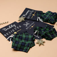 Personalised Matching Family Checked Green Believes Christmas Pyjamas