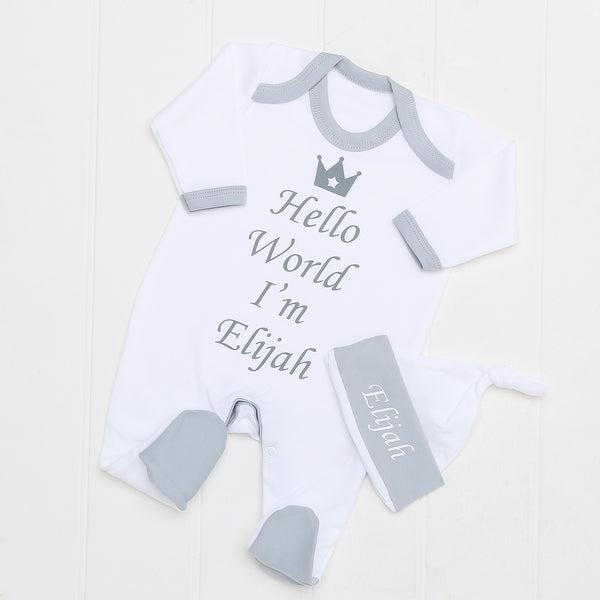Personalised Hello World Grey Babygrow and Hat Set - Mini Kings & Queens