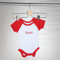 Personalised Contrast Red and White Baby Vest
