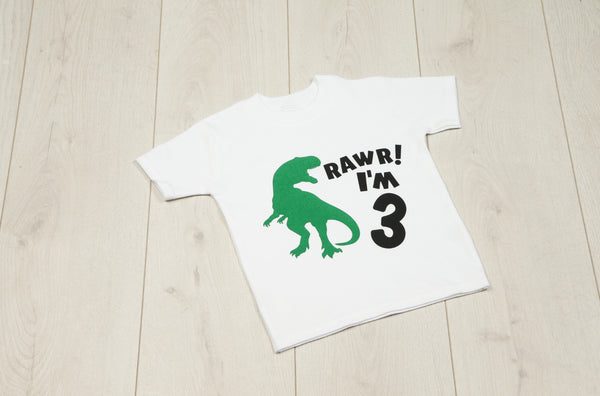 Dinosaur Rawr I'm Birthday T-shirt - Mini Kings & Queens