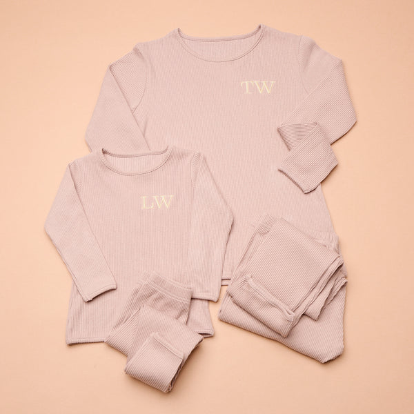 Personalised Matching Embroidered Mocha Loungewear
