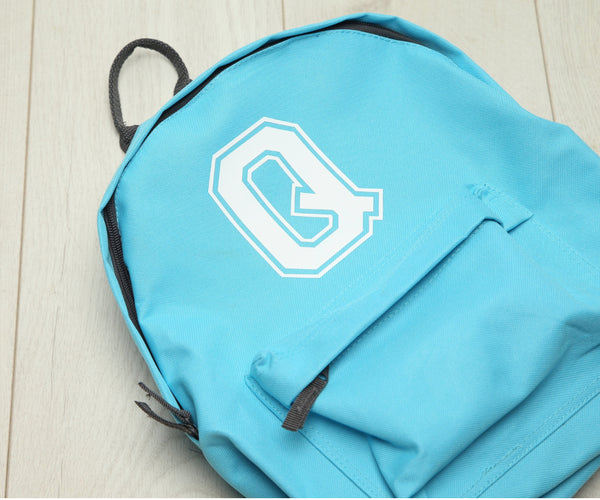 Personalised Varsity Initial Surf Blue Backpack - Mini Kings & Queens