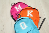 Personalised Varsity Initial Hot Pink Backpack - Mini Kings & Queens
