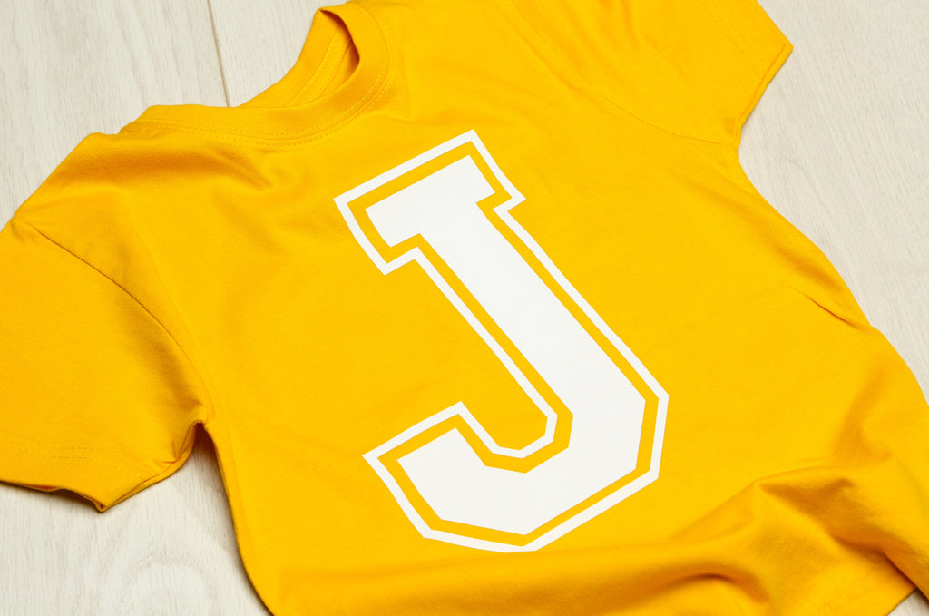 Personalised Yellow Initial T-shirt - Mini Kings & Queens