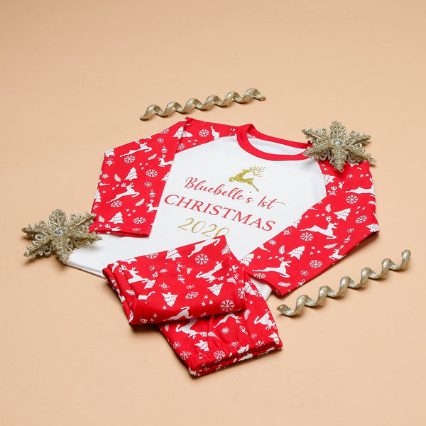 Personalised Red Reindeer My 1st Christmas Pyjamas
