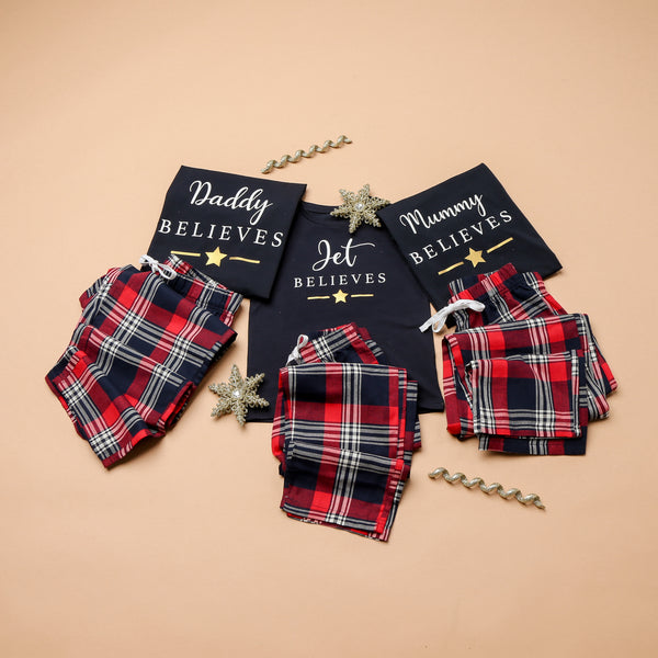Personalised Matching Family Checked Red Believes Christmas Pyjamas