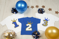 Prince Birthday Royal Blue Crown T-Shirt - Mini Kings & Queens