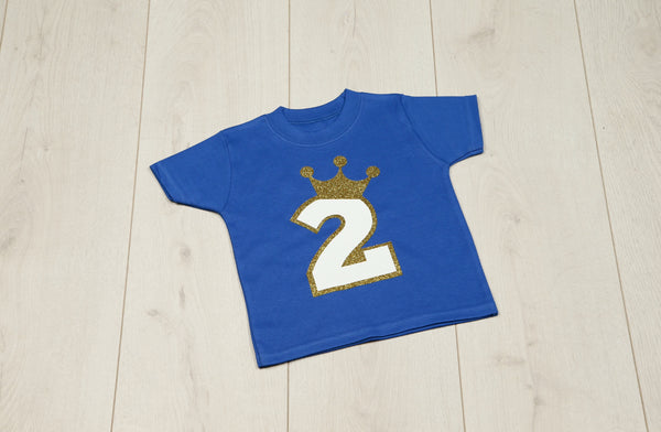 Prince Birthday Royal Blue T-Shirt - Mini Kings & Queens