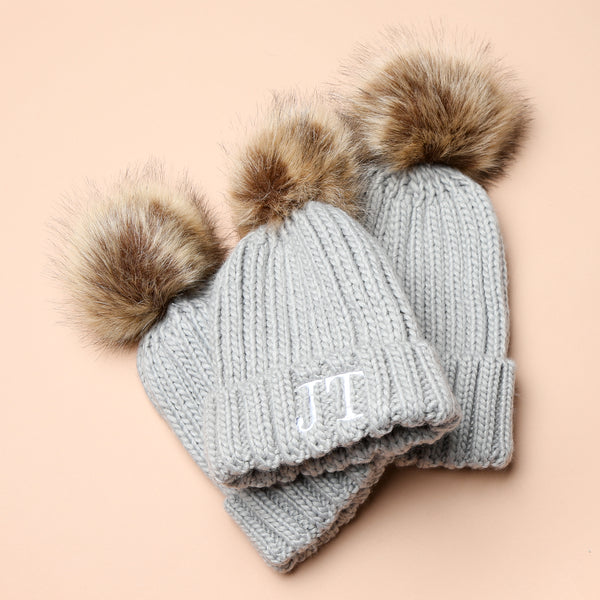 Personalised Grey Faux Fur Initial Pom Hat