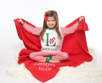 Personalised Luxury Red Throw Blanket - Mini Kings & Queens