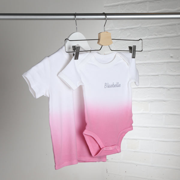 Personalised White and Pink Dip Dye Babyvest