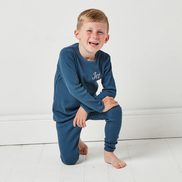 Personalised Midnight Blue Ribbed Loungewear