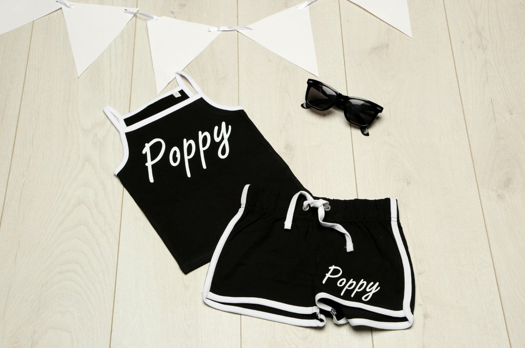 Personalised Girls Black and White Vest and Shorts Set - Mini Kings & Queens