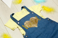 Personalised Baby Heart Denim Dungarees - Mini Kings & Queens