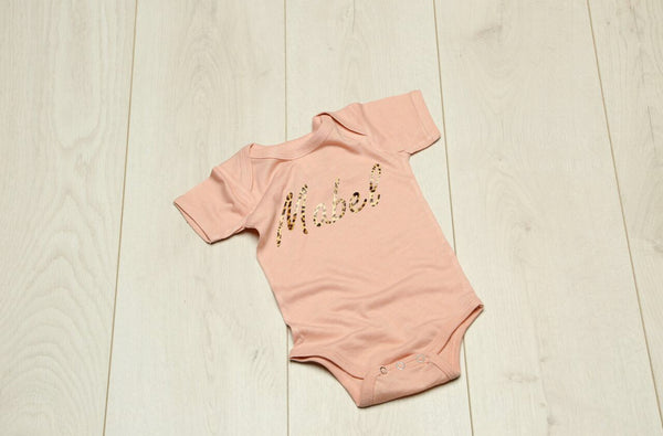 Personalised Peach Leopard Babyvest - Mini Kings & Queens