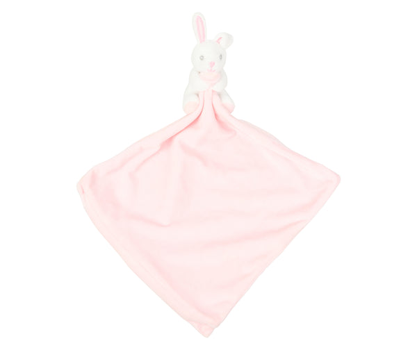 Personalised Pink Bunny Embroidered Baby Comforter
