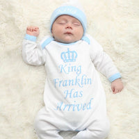 Personalised King Has Arrived Baby grow and Hat Set - Mini Kings & Queens