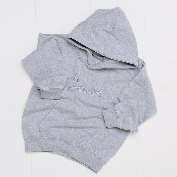 Personalised Embroidered Grey Hoodie - Mini Kings & Queens