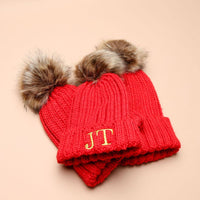 Personalised Red Faux Fur Initial Pom Hat