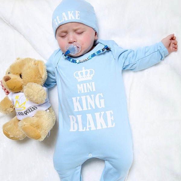 Personalised Mini King Baby grow and Hat Set - Mini Kings & Queens