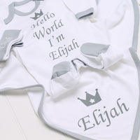 Personalised Hello World Grey Babygrow Hat and Blanket Set - Mini Kings & Queens