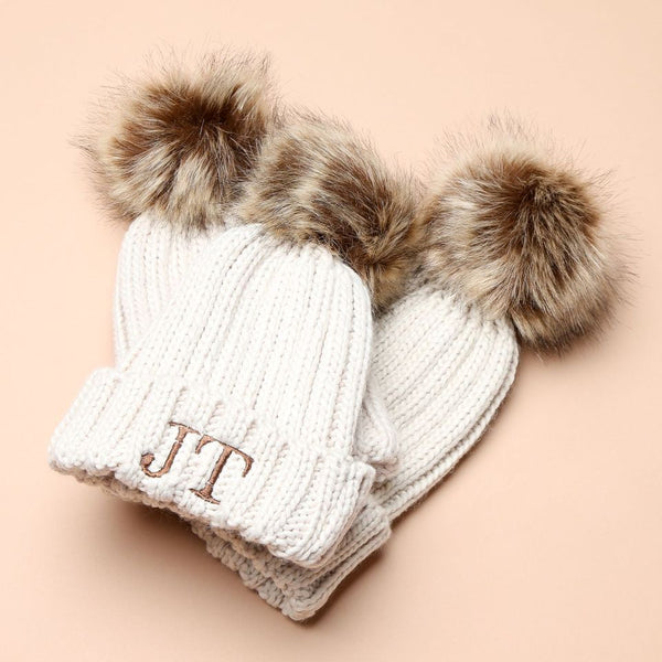 Personalised Oatmeal Faux Fur Initial Pom Hat