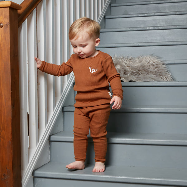 Personalised Caramel Ribbed Loungewear