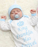 Personalised King Has Arrived Baby grow Hat and Blanket Set - Mini Kings & Queens