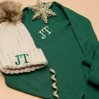 Personalised Forest Green Christmas Ribbed Loungewear and Matching Oatmeal Hat.