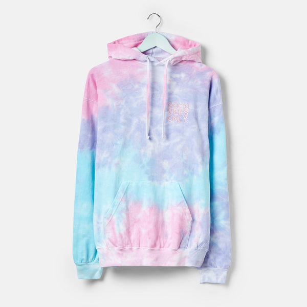 MKQ Good Vibes Only Cotton Candy Tie Dye Hoodie