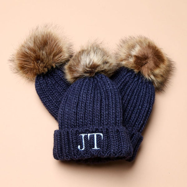 Personalised Navy Faux Fur Initial Pom Hat