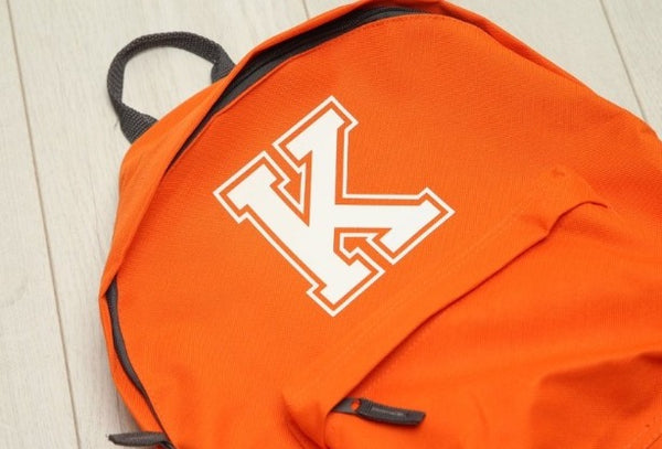 Personalised Varsity Initial Neon Orange Backpack - Mini Kings & Queens