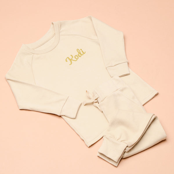 Personalised Embroidered Oatmeal Loungewear
