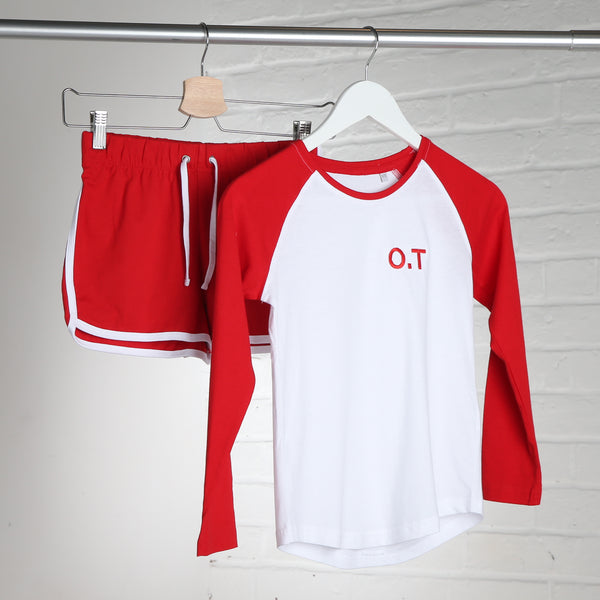 Girls Red and White Raglan Sports Set