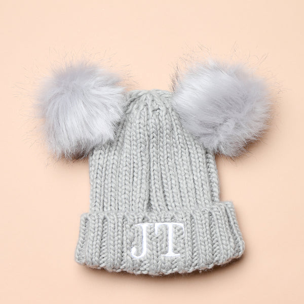 Personalised Grey Faux Fur Initial Double Pom Hat