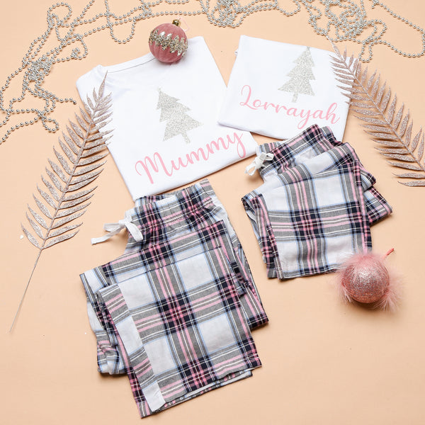 Personalised Pink Checked Christmas Tree Pyjamas