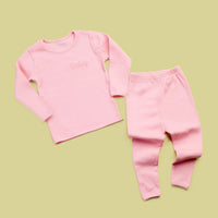Personalised Ribbed Baby Pink Loungewear Set