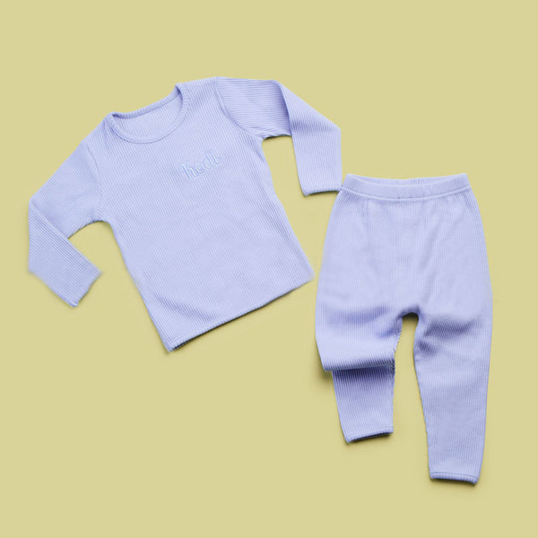 Personalised Ribbed Baby Blue Loungewear Set