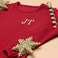 Personalised Adult and Kids Matching Embroidered Red Loungewear