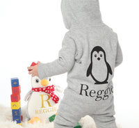 Personalised Grey Penguin Baby Onesie 6-12m-2-3y - Mini Kings & Queens