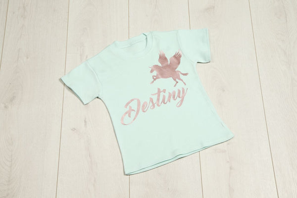 Personalised Mint Unicorn T-shirt - Mini Kings & Queens
