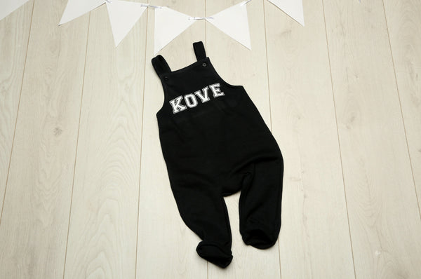 Personalised Black Cotton Dungarees - Mini Kings & Queens