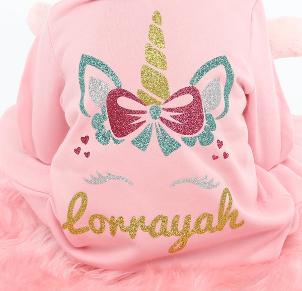 Personalised Baby Pink Glitter Unicorn Onesie - Mini Kings & Queens